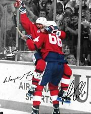 Wayne Gretzky Mario Lemieux 1987 Canada Cup Goal Signed Photo Autograph Reprint