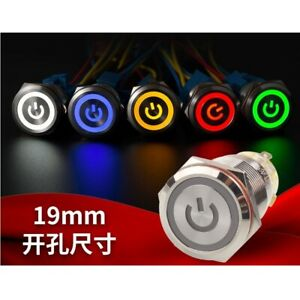 19mm Stainless Steel Push Button Switch, Power Symbol+Ring LED switch  CE,RoHS