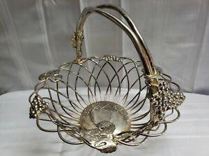 Vintage Godinger Silverplate Large Fruit Basket Twisted Wire Grape Decorated