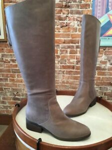 Lucky Brand Brindle Taupe Leather Lanesha Back Zip Riding Boots 12 New