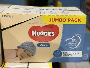 Huggies Pure Baby Wipes Pure Water Jumbo Box Disposable 720 Pcs -Pack of 72 x 10