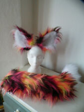 Cosplay fox ears and tail set, Kat Croker pink black yellow, Poseable tail
