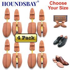HOUNDSBAY Mens Cedar Shoe Tree with Wide Heel and Adjustable Split Toe - 4 Pairs