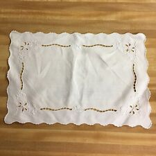 7 Vintage Linen Placemats Embroidered White on White Floral