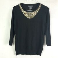 New Chelsea & Theodore Sz L Women Sweater Black Gold Jewel Neck Line 3/4 Sleeve