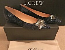 J.CREW SEQUIN FLATS WITH STARS SIZE 7,5M NAVY H1903