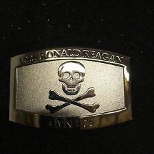 BELT BUCKLE CHROME U.S.S RONALD REAGAN CVN-76 CUSTOM MADE SKULL & CROSSBONES
