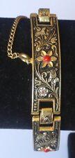 bracelet vintage style or de tolède fleur relief perle cabochon rouge  3537