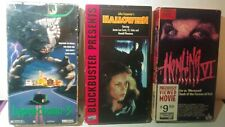 3 Horror VHS Tapes - Halloween - Howling 6 - Lephrechaun 3 ; Blockbuster Video