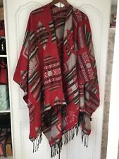 Aztec Red Printed Knitted Cape Poncho Autumn Winter One Size