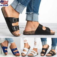 Women Summer Cork Sandals Slippers Casual Slip On Flip Flops Flats Shoes Size US