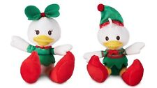 Disney Store Donald & Daisy Holiday Tiny Big Feet Small Plush Doll 2pc Set New