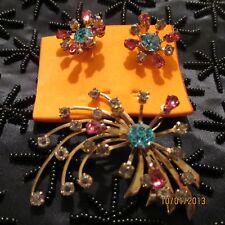Vintage PRESTIGE Pink Blue Crystal Rhinestone Gold-tone Brooch ER's Jewelry Set