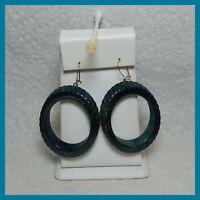 Vintage Bakelite Blue Marbled Hoop Drop Pierced Earrings