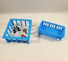 Vtg Toy Kids Playpen and Baby Crib Cradle Plastic Blue