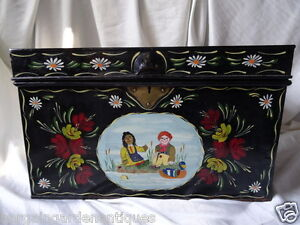 Vintage Rosie & Jim Style Hand Painted Metal Canal Boat Chest Coffee Table