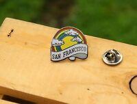 San Francisco Rainbow Clouds Silver Tone Metal & Enamel Lapel Pin Pinback
