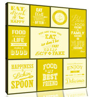 All sizes Mustard Grey Motivational Quotes Canvas Wall Art Picture Yellow