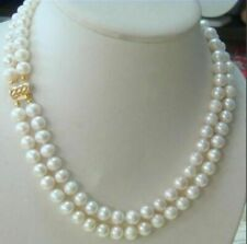 Classic Double Strand 9-10mm south ses white pearl necklaces 18-20 inch 14K