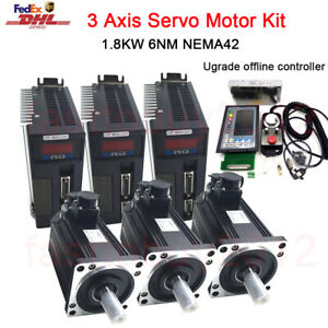 1.8KW 6NM AC Servo Driver Motor NEMA42 3 Axis Offline Motion Controller G-Code