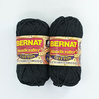 Bernat Handicrafter Cotton Lot of 2 Skeins 50g Black
