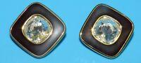 SWAROVSKI SWAN VINTAGE SAL Signed GOLD BLACK ENAMEL CRYSTALS CLIP ON EARRINGS