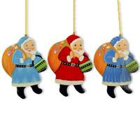 Set of 3 Santa Claus with Gifts Wooden Christmas Ornaments
