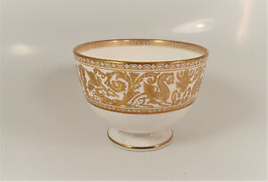 Wedgwood Florentine Gold (White Body) Footed Open Sugar Bowl
