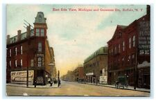 East Side View Michigan & Genesee Streets Buffalo NY Postcard Signs C10
