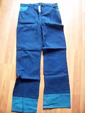 Blue cotton denim jean trousers with teal trim from Bhs, Age 13 years