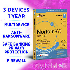 Norton 360 Deluxe 2021 Multidevice 3 devices 1 year, incl. VPN, Backup, SafeCam