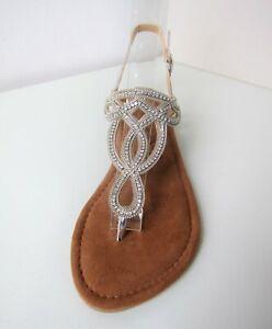 Tamaris Sandaletten silber  Gr. 38 Sandale sandals Strass glitzer Zehentrenner