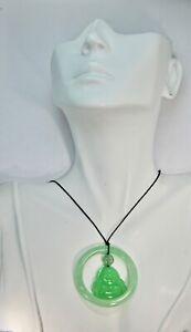 Jade Buddha Pendant Necklace Translucent Green with Jade Sphere Baby Bangle