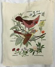 Vtg Paragon Stitchery Completed Linen Textile Art Floral Bird Embroidery 14 x 18
