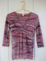 Sweet Pea Stacy Frati Womens Medium 8 10 Gray Pink Mesh Wrap Babydoll Shirt Top