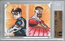 BGS 9.5 2014 Marvel Premier DUAL PANEL BOOK SKETCH CAPTAIN AMERICA FALCON LPG