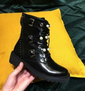 Womens Fashion Leather Buckle Straps Pearl Beaded Lace Up Combat Boots Shoes SKG
