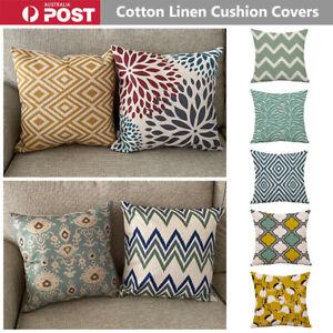 Geometric Cushion Covers Cotton Linen Throw Pillow Case Yellow Teal Scandinavian
