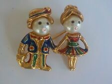 Vintage Gold Tone  Metal and Multi Color  Enamel Couple Pin /Brooch