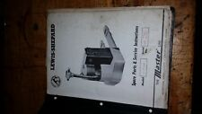 Lewis Shepard Spare Parts And Service Instruction Manual Wlp-4B1