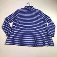 Lane Bryant Women's Long Sleeve Turtleneck Blouse Top 14 16 Blue White Stripes