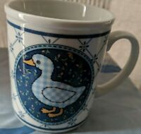 Blue and White Duck or goose Coffee Mug with checks and flowers very pretty