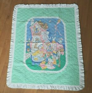 Vintage Pastel Mother Goose Baby Quilt Crib Blanket White Ruffle Trim Hand Made