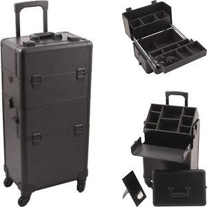 Rolling Makeup Case Pro Cosmetic Hair Stylist Storage Wheeled Trolley Hiker NIB
