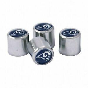 NEW Los Angeles Rams Football Chrome Tire Valve Stem Caps w/ Team Colors - 4PC
