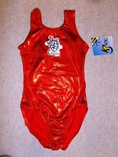 New K-Bee Sparkling Red Heart of A Champion Gymnastics Leotard Adult S Small