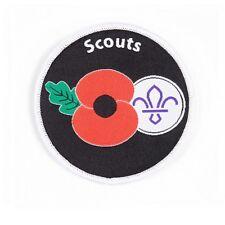 Scout Remembrance Poppy Fleur de Lis Woven badge. OFFICIAL SUPPLIER.