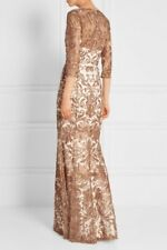 $1295 Marchesa Notte Metallic Rose Embroidery Mermaid Tulle IVORY Gown Size10
