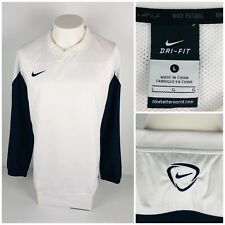 Nike Soccer Mens Large Shirt White Pullover Squad Shell Long Sleeve Football
