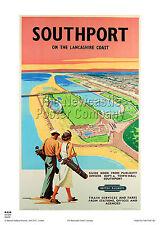 SOUTHPORT GOLF LANCASHIRE VINTAGE RAILWAY TRAVEL POSTER RETRO ADVERTISING